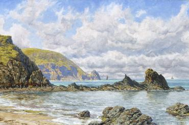 sunlit oil painting called Forest Cove, Cardigan Bay (1884) by Pre-Raphaelite artist John Brett