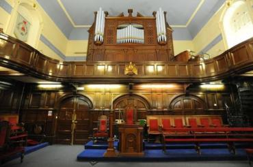 organ inside Cardiff masonic hall