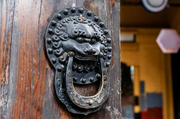 wooden door with lion face iron door knocker