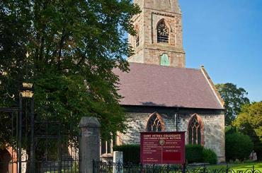 exterior view of St peters Ruthin