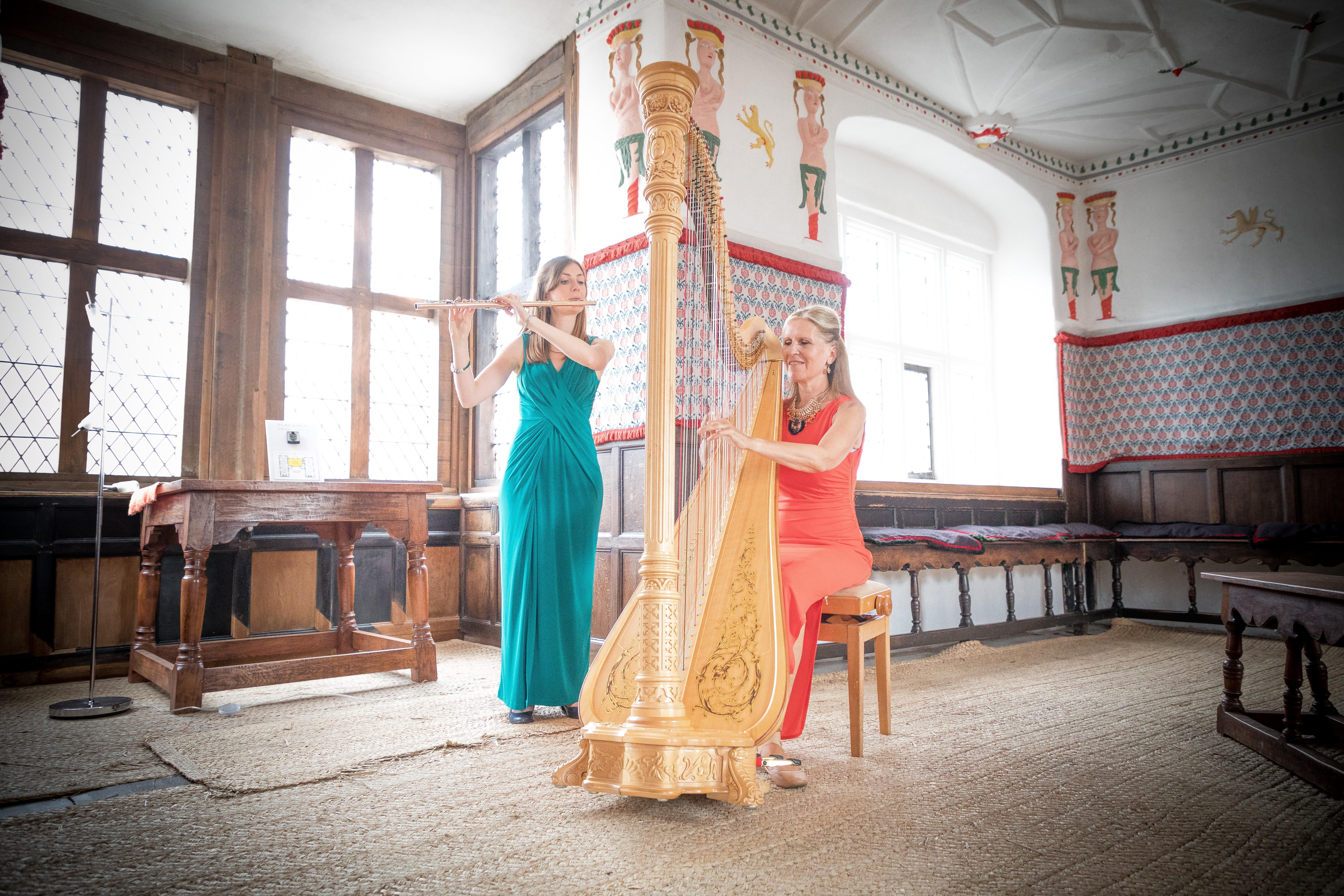 Eleni Duo playing harp and flute in Plas Mawr